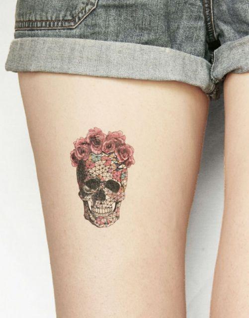 tatuagem de caveira mexicana delicada