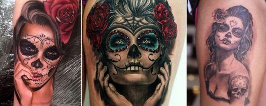 tatuagem de caveira mexicana realista