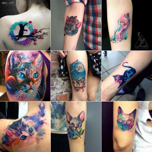 tatuagem de gato aquarela