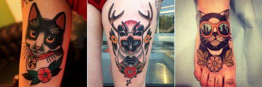 tatuagem de gato old school