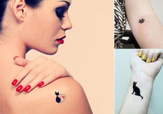 tatuagem de silhueta e contorno de gato
