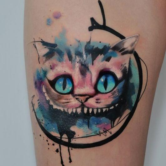 tatuagem de gato de cheshire