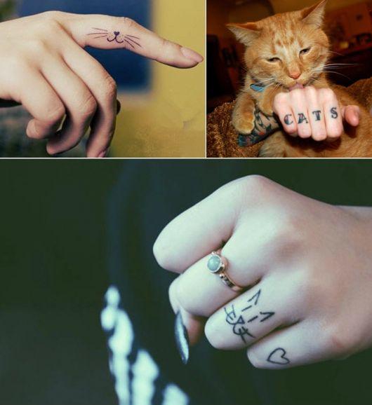 tatuagem de gato pequena no dedo