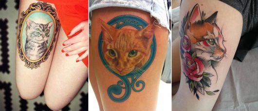 tatuagem de gato grande na coxa