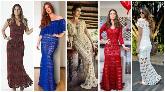 Vestido de crochê longo: 60 modelos, gráficos e receitas!
