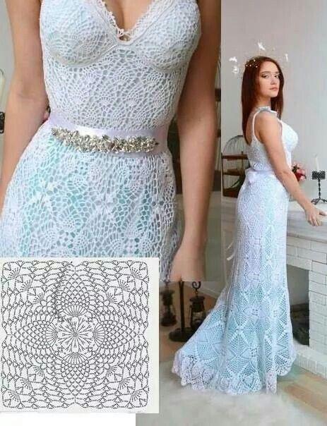 Vestido De Crochê Longo 60 Modelos Gráficos E Receitas