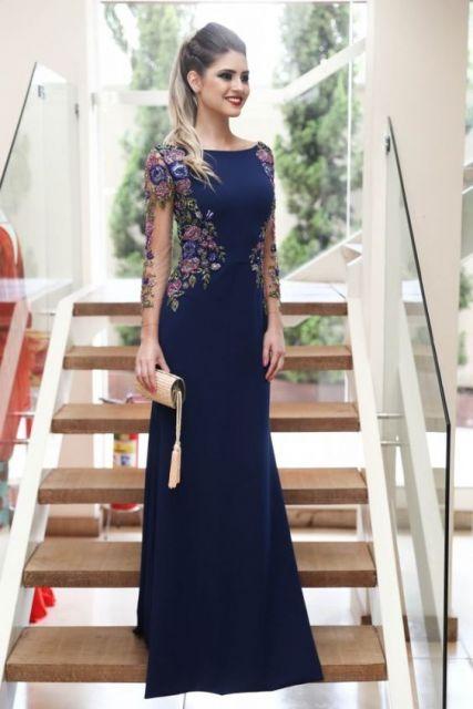vestido azul marinho com manga longa