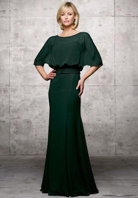 Vestido longo de renda verde musgo