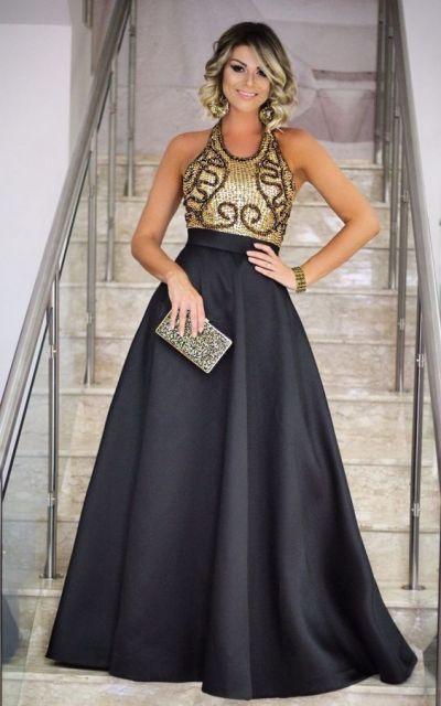 Vestidos de formatura preto com dourado