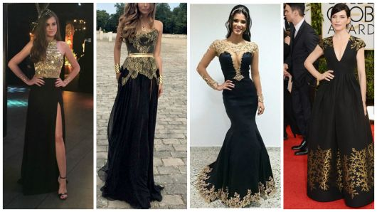 vestido de festa preto e dourado
