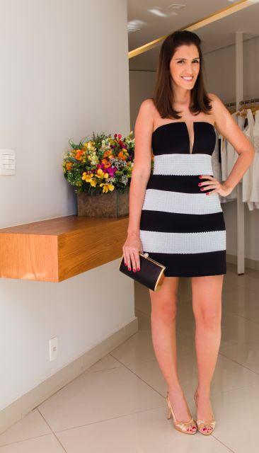 vestido de listras preto e branco