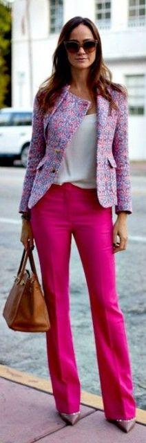 Calça pink com blazer