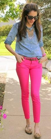Camisa jeans com calça cropped pink