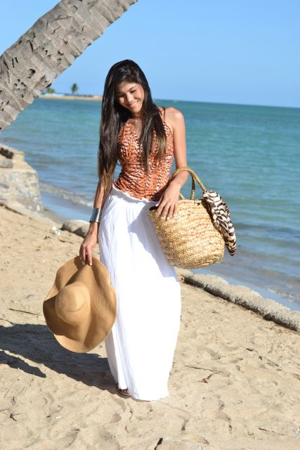 look praia com saia longa