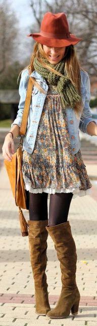 look vestido com jaqueta jeans