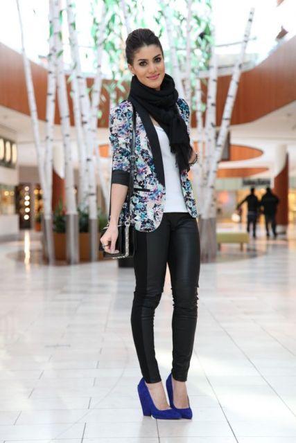 blazer floral look