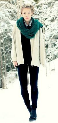 look com cachecol verde