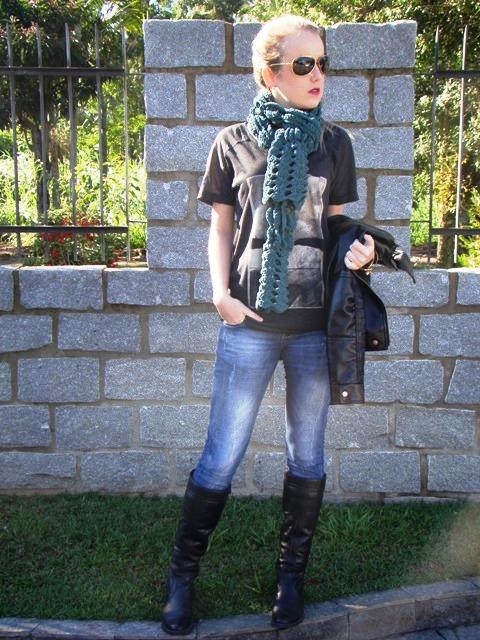 look calça jeans com bota