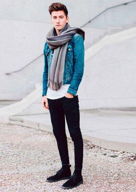 look masculino com jaqueta jeans