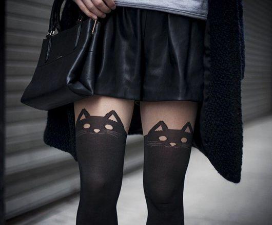 moda de meia calça de gatinho