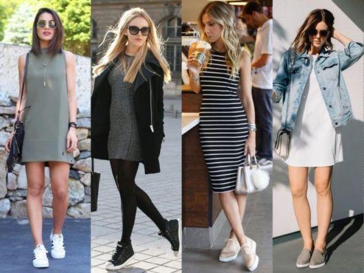Quatro looks minimalistas com vestidos
