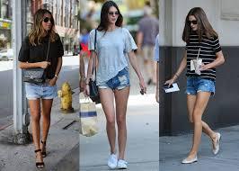 Opções de looks de dia a dia com shorts jeans