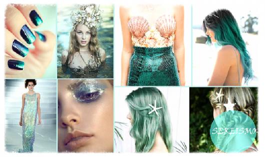 Modelos de maquiagem com brilho, cabelos em tom de verde, roupas com conchas e esmaltes envernizados, tudo em tons de verde.