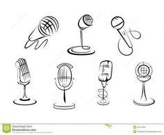 Desenhos de microfones.