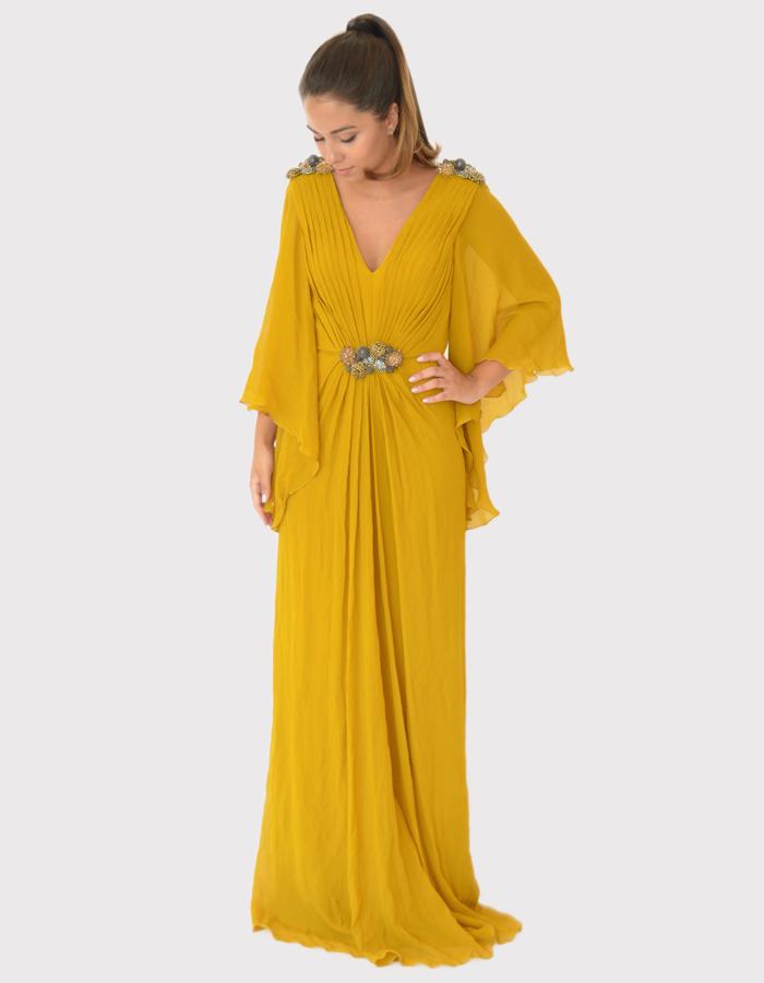Vestido longo amarelo com mangas longas e soltas