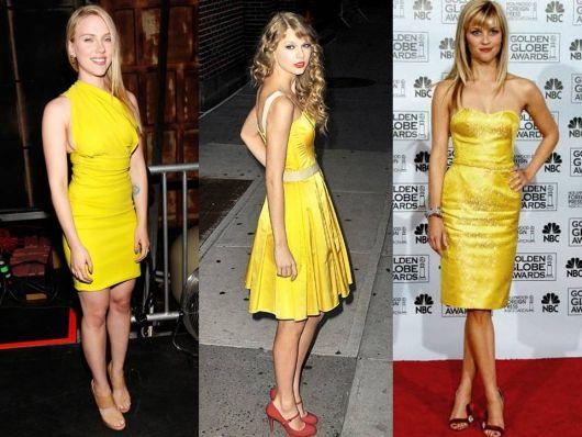 três modelos de vestidos curtos amarelos