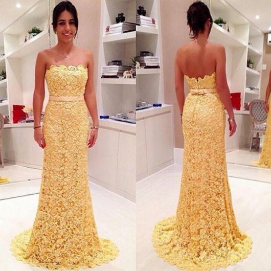 Vestido de festa amarelo rendando tomara que caia