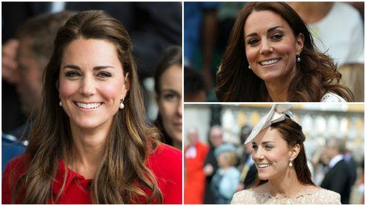 Montagem com três fotos de Kate Middleton usando brincos de pérola