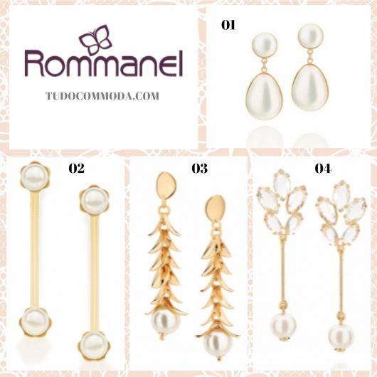 Modelos de brincos de pérola da Rommanel