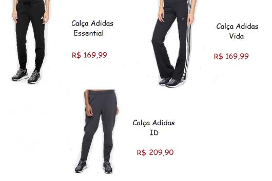 Modelos de calça adidas nas cores preto, preto com listras brancas na lateral e cinza chumbo.