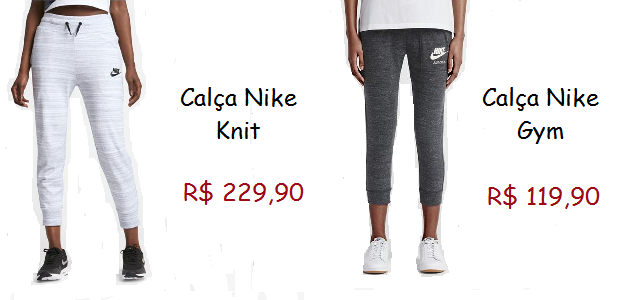 Modelos de calça nike, o primeiro na cor branca e a segunda na cor cinza chumbo.