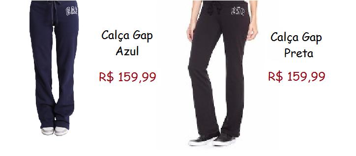 Modelos de calça moletom gap, nas cores azul marinho e preto.