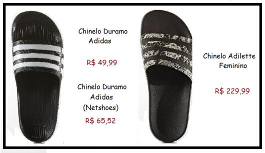 Modelo de chinelo slide da Marca Adidas nas cores preto com tira listrada em preto e branco.