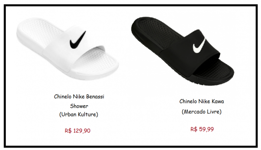 Dois Modelos de chinelo da marca Nike nas cores branco e preto.