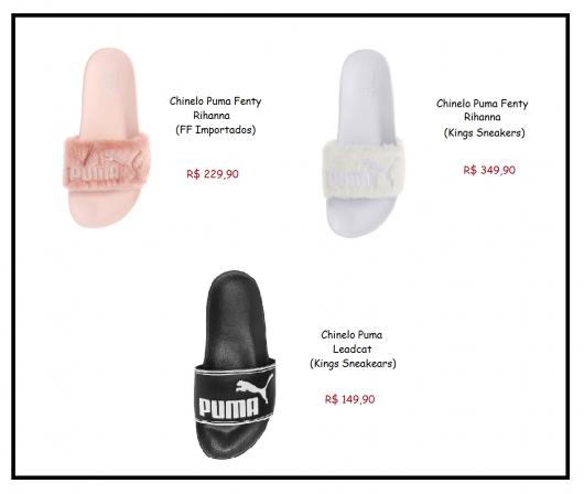Modelos de Chinelo Slide nas cores rosa claro e branco de pelinhos e preto com branco simples.