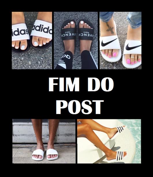 Imagem com vários pés de chinelos slide nas cores branco e preto.
