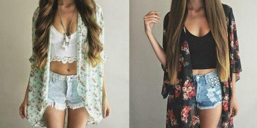 Combinação de cropped, shorts jeans e kimono.
