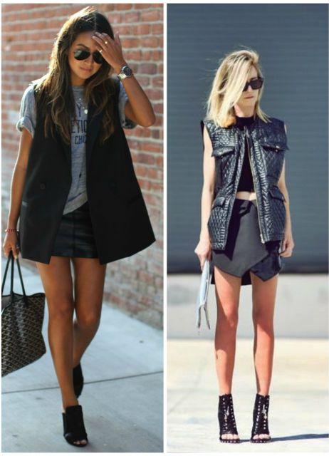 Modelos vestem saia e blusa básica com maxi colete e ankle boot.