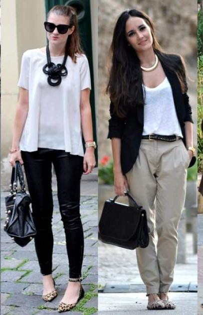 Primeira foto, look com blusa branca, calça de couro preta e bolsa, segunda foto, look com calça alfaiataria, blusa branca e blazer.