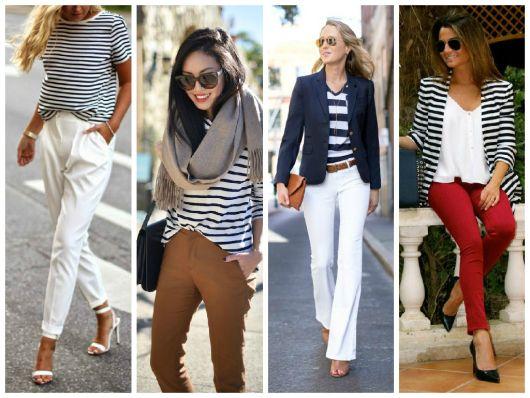 Modelos vestem blusas com listras em azul e branco, calça e sandália de salto.
