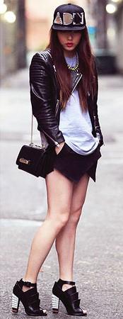 Look com blusa branca, jaqueta de couro preta, bolsa de ombro,short e sapato da mesma cor.