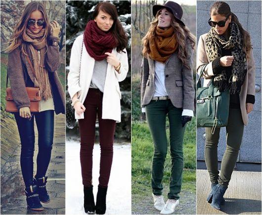Modelos vestem casacos pesados de inverno, cachecol, calça e sapato.
