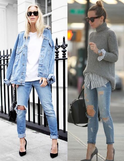 `Primeira foto modelo veste calça destroyed, sapato de salto,camiseta branca e jaqueta jeans, na segunda foto, calça destroyed, camisa com sobreposição de suéter e sapato de salto.