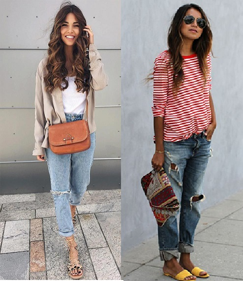 Looks com calça boyfriend destroyed, blusa larguinha e chinelos.