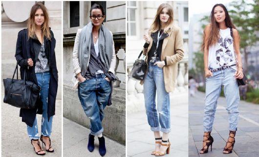 modelos vestem calça boyfriend, blusas meia- estação com sobreposições e sapatos estilosos.