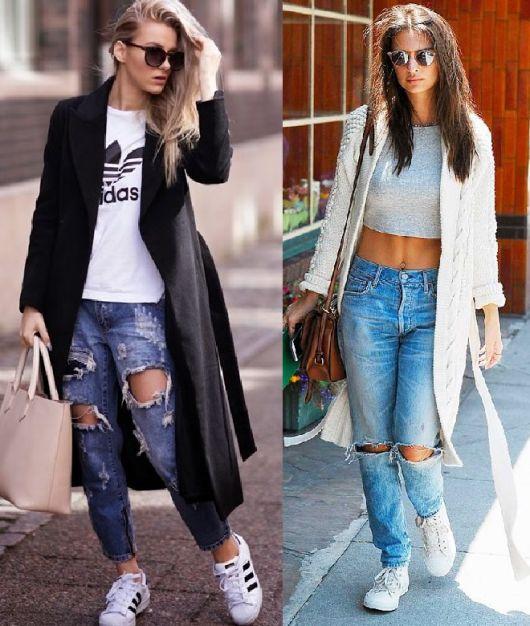 Looks com calça destroyed, blusas básicas, casacos sobre-tudo e tênis.